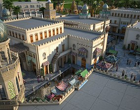 Architecture in India 3D asset animated