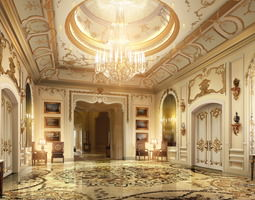 Lobby with Luxury Decor 3D