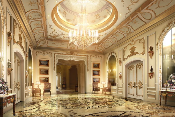 Lobby with luxury decor 3d cgtrader for Hotel decor items