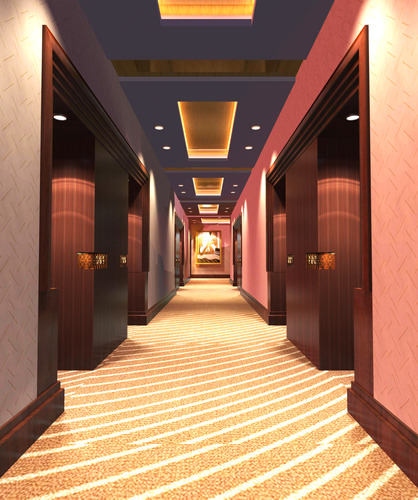 Corridor with pink wall decor 3d model max - Decor corridor ...