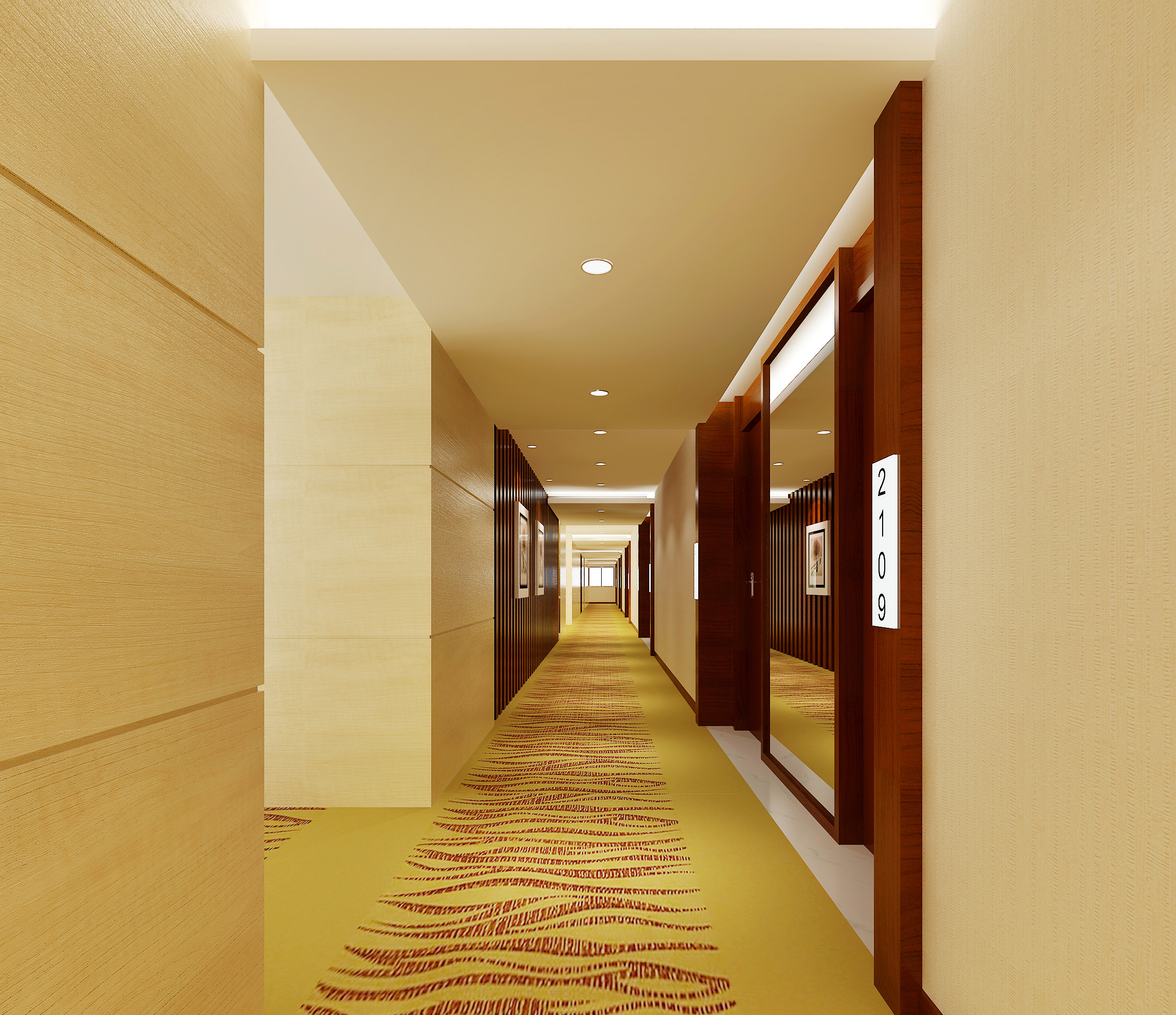 Corridor with elevator with floor decor 3d model max - Decor corridor ...