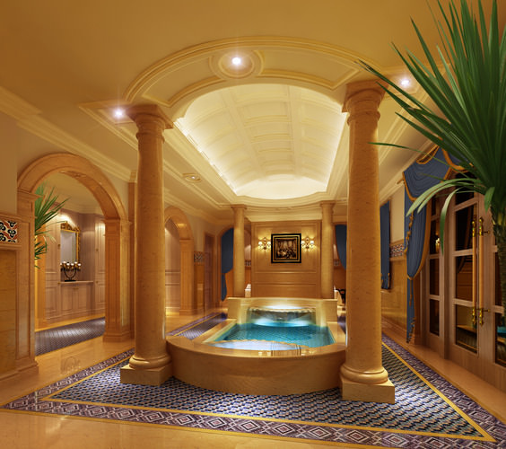 Spa room with high end interior design 3d model max for High end interior design