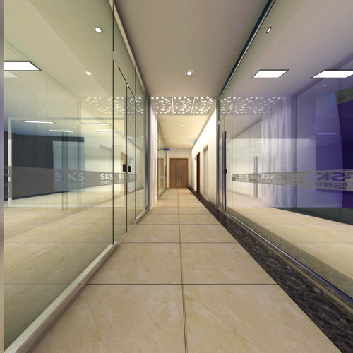 3d model corridor with high end glass decor cgtrader - Corridor decoratie ...