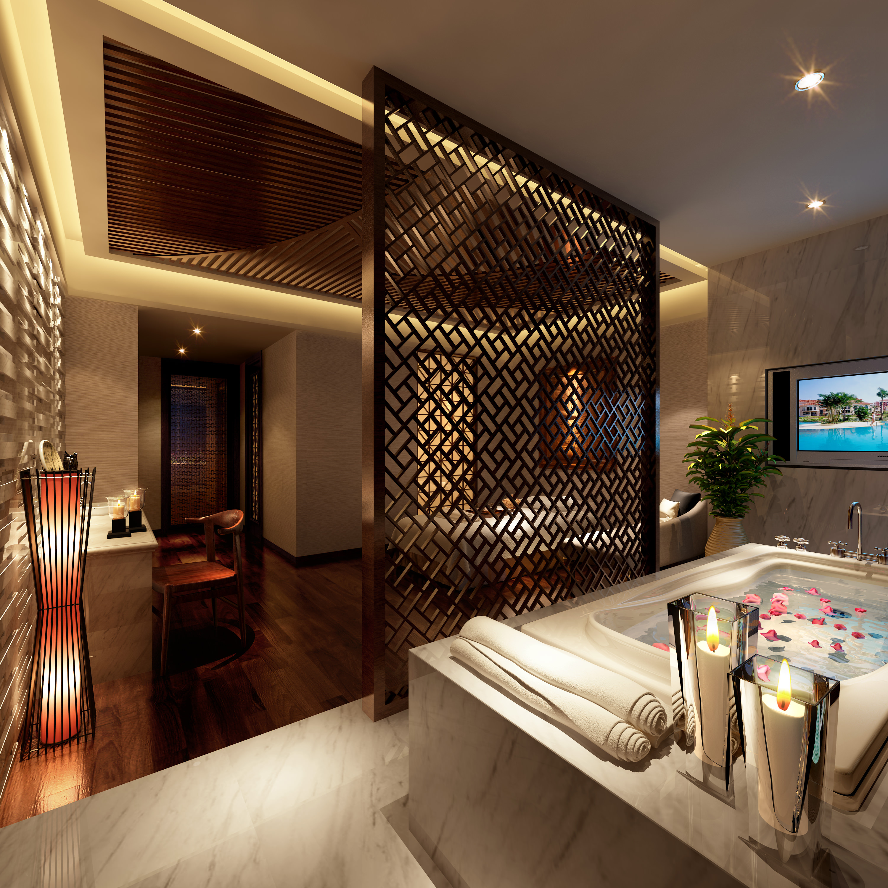 spa room with designer wooden partition 3d model max 1 ...