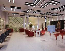 3d model hairdressing room with high-end ceiling decor
