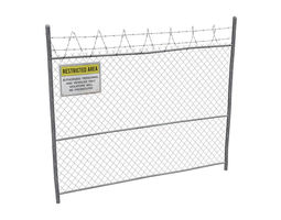 3D asset game-ready Damaged Metal Fence with Sign