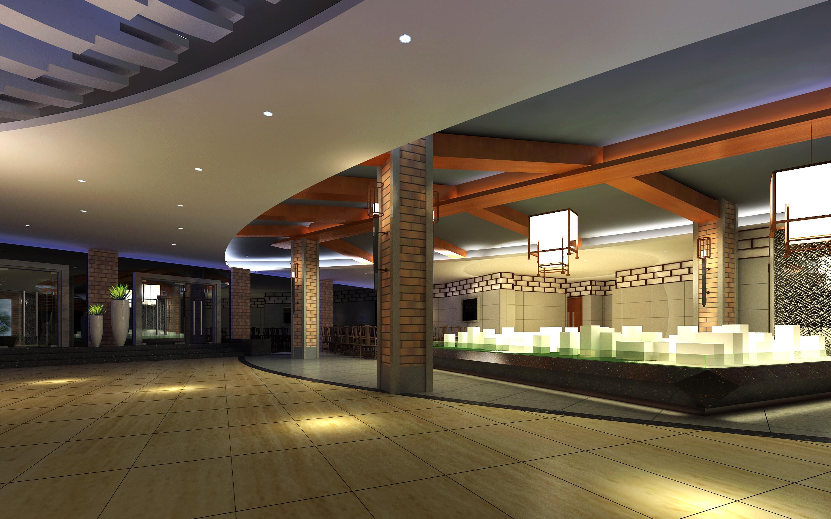 Lobby With Designer Pillar And Interior 3d Model Max 1