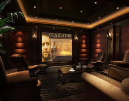 3D model Lounge with Big Screen