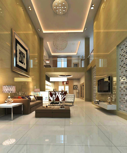 high-end living room with tv 3d model max 1
