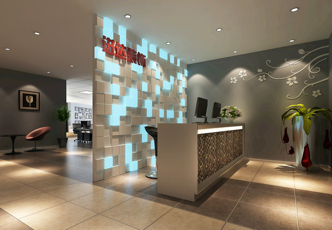 office reception. High-end Office Reception Area 3D Model H