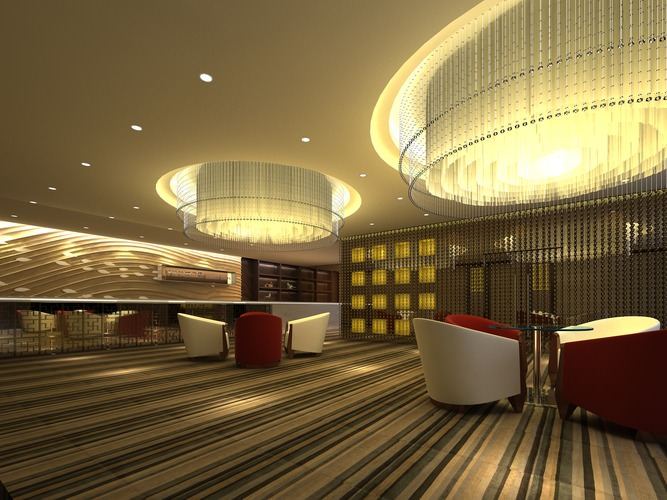 Lobby with Large Chandeliers and Red Chairs3D model