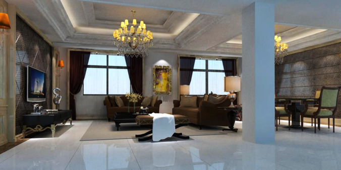 Living Room with TV cum Dining Room3D model