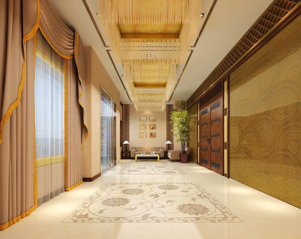 Corridor with exquisite ceiling and door f 3d model max - Schilderij model corridor ...