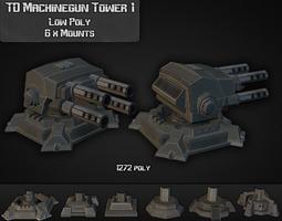 3d asset td machinegun tower 01 VR / AR ready