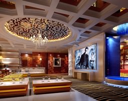 3d exquisite designed lounge with chandeliers