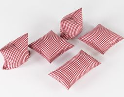 Pillows 3D model bed