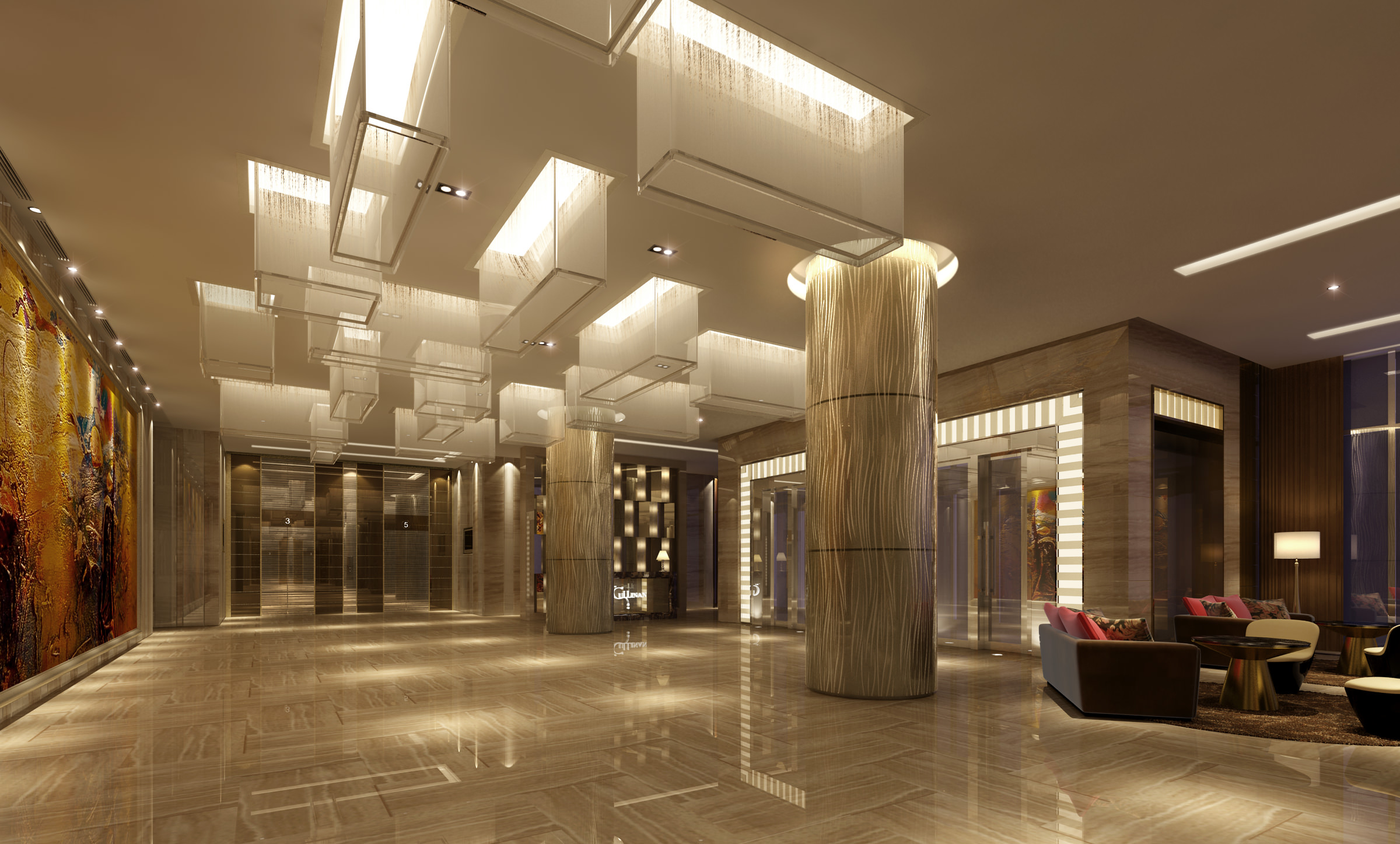 fancy lighting. hall with fancy ceiling lights 3d model max 1 lighting