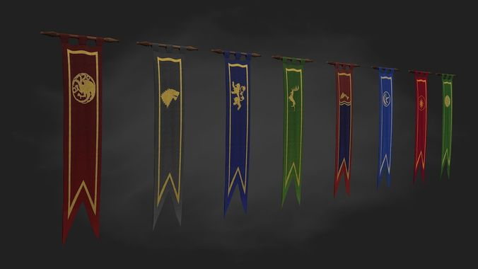 Game of thrones banner 8 houses low poly and vfx