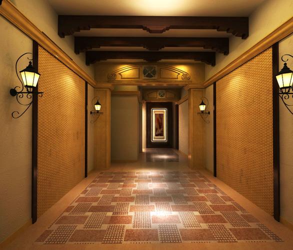 Corridor with ceiling decor 3d cgtrader - Corridor decoratie ...