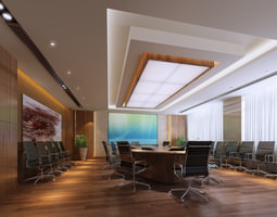 conference room with abstract wall painting 3d