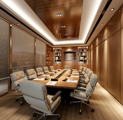 Car Interior: 3D Model Conference Room With Exquisite Table