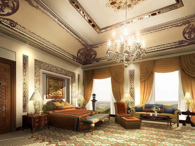 Luxury Suite with Flowery Wall and Carpet3D model