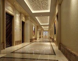 3D Corridor with Striped Designer Elevator
