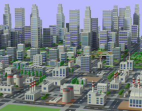 Town city buildings 3D model