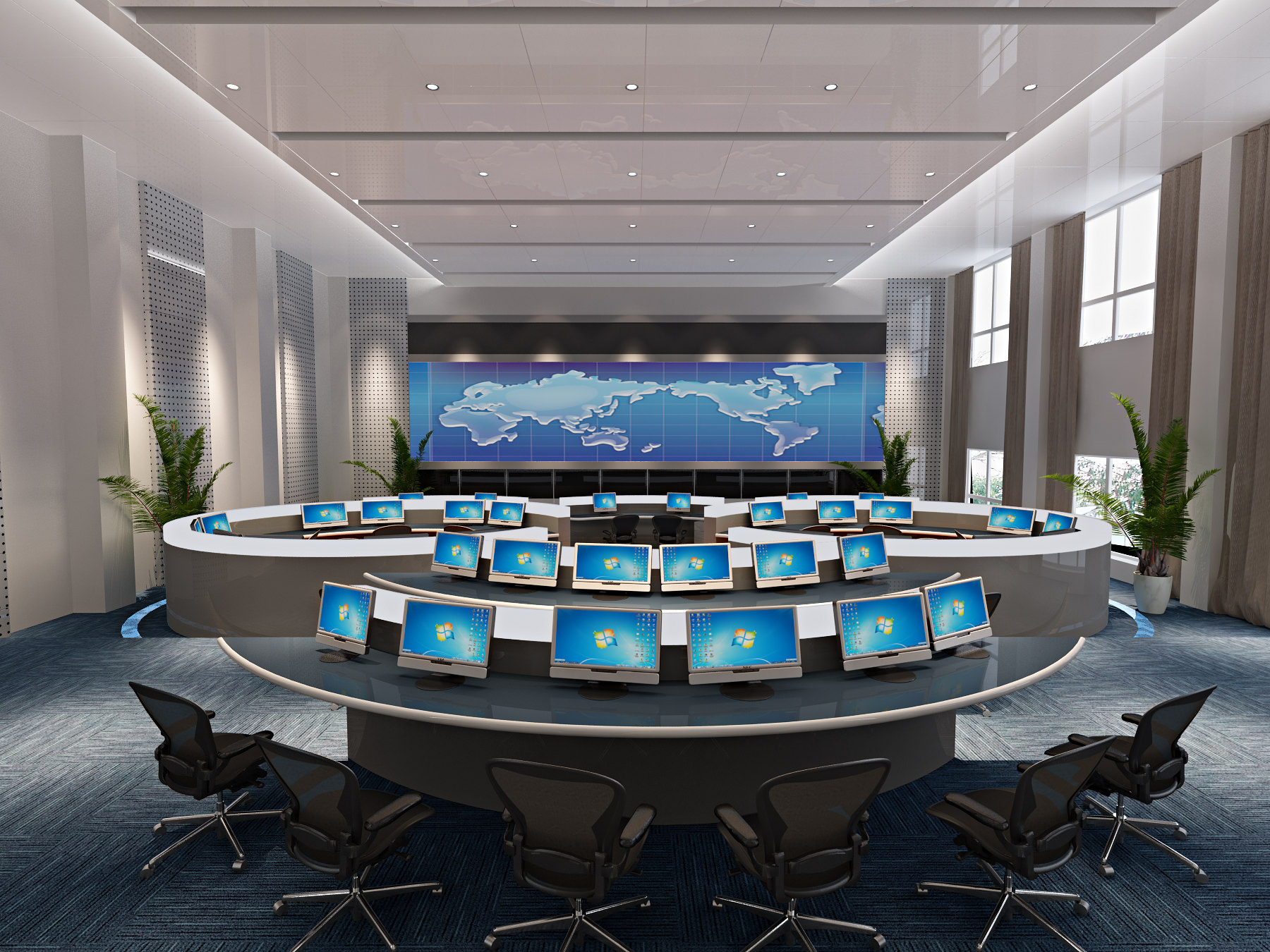 Office control room interior 3d model max for Office design 3d max