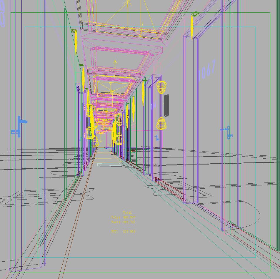 Hotel corridor 3d model max - Schilderij model corridor ...