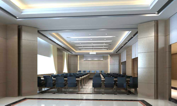 Conference Hall with Black Chairs3D model