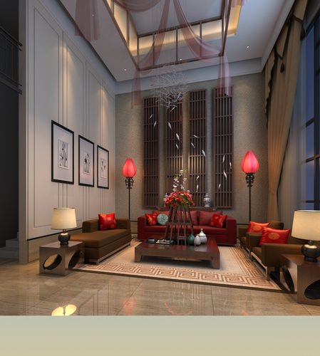 antechamber with red sofa and lamp 3d model max 1