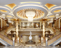 3d luxurious lobby with dual staircase