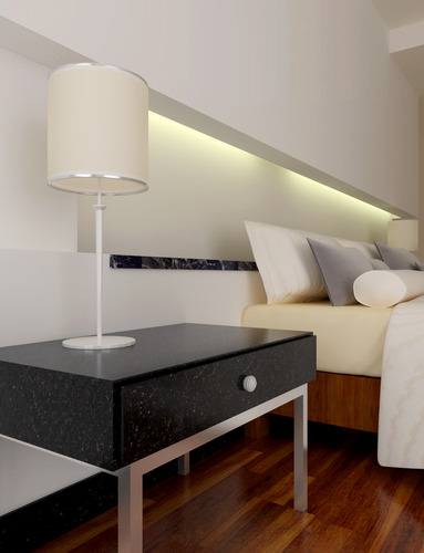 Furnished Bedroom with Lamp3D model