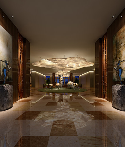 grand lobby with exquisite sculptures 3d model max 1