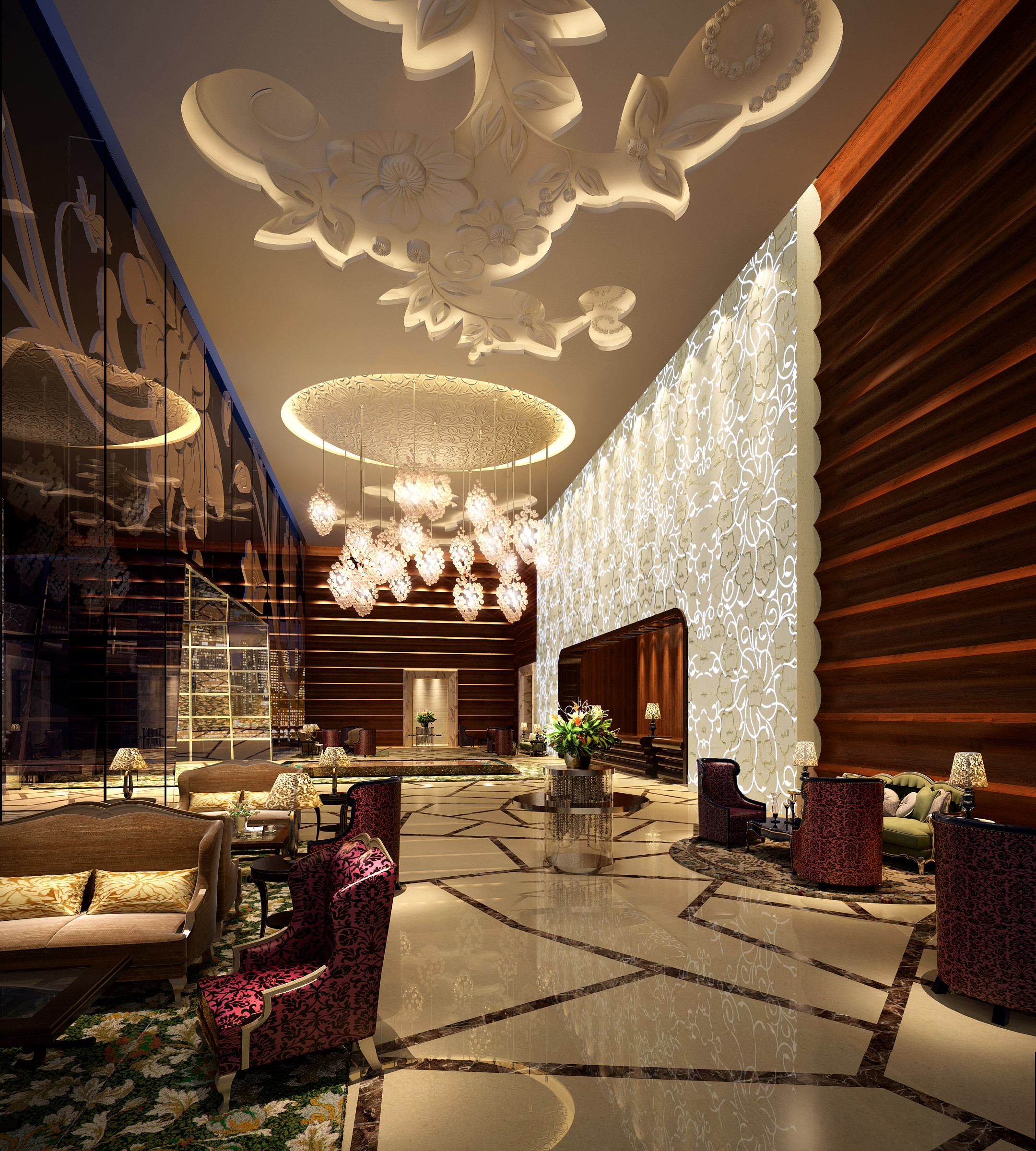 Lobby with exotic ceiling design 3d model max for Villa lobby interior design