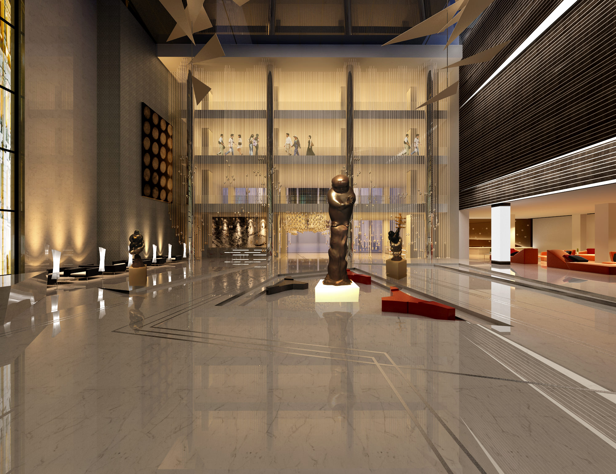 Lobby with Exotic Sculpture | 3D model