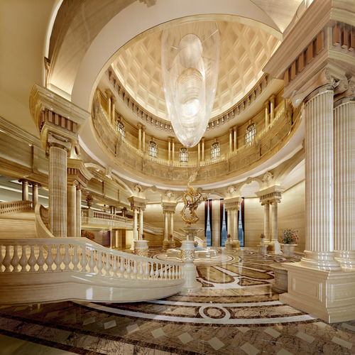 Royal Style Lobby With Chandelier 3d Model Cgtrader