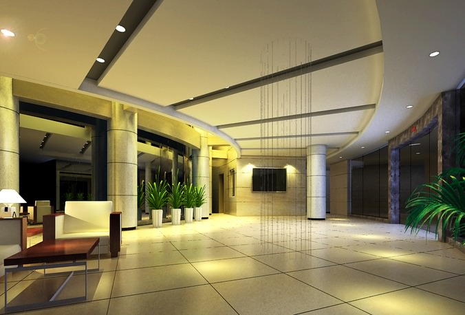Lobby with Modern Furniture