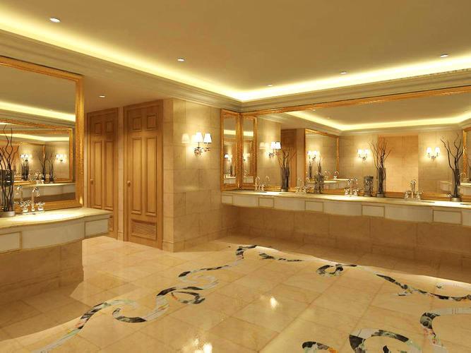 3d Model Washroom With Designer Tiles Cgtrader