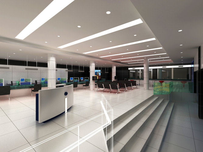 Bank Space with Posh Interior3D model