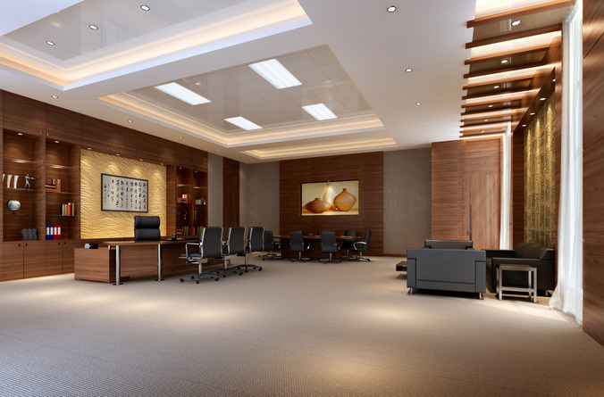 Office with Posh Interior3D model