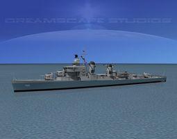 rigged 3d model sumner class destroyer  dd760 uss john w thomason