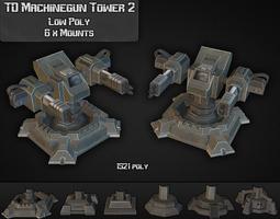 td machinegun tower 02 3d asset low-poly