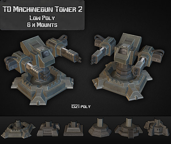 td machinegun tower 02 3d model low-poly max obj mtl 3ds fbx dxf dwg 1