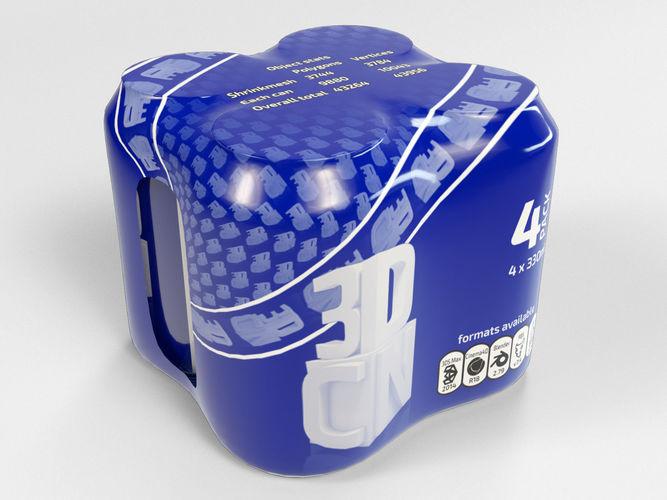 4 pack 330ml shinkwrapped beverage cans 3d model max obj mtl fbx c4d blend 1