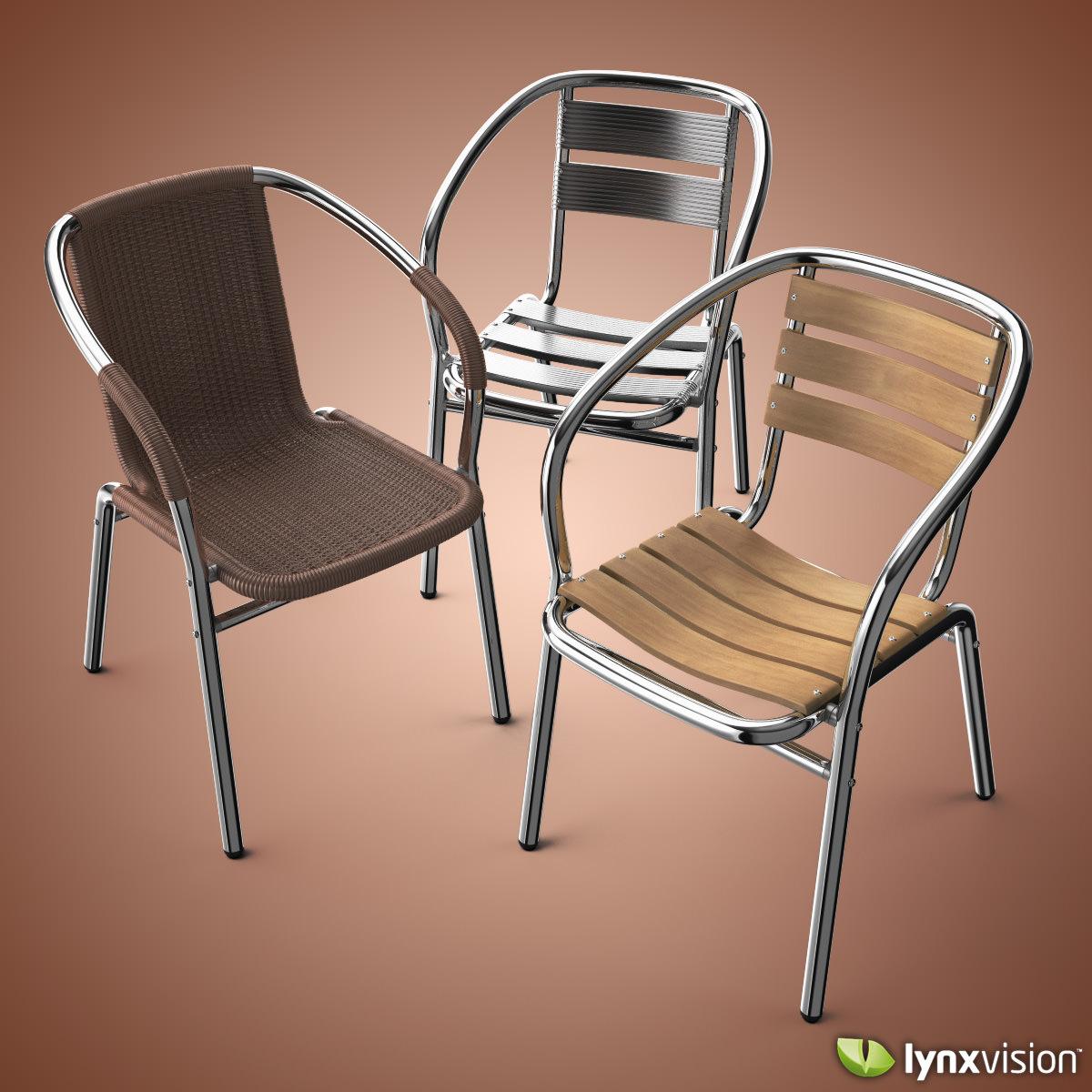 outdoor aluminum chairs collection 3d model max obj fbx c4d lwo lw lws lxo lxl 1 - Garden Furniture 3d Model