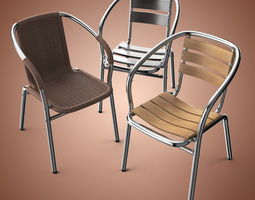 Outdoor Aluminum Chairs Collection 3D Model