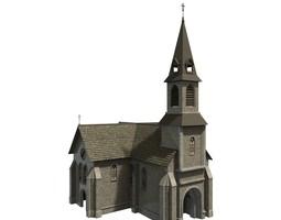 game-ready modular church 3d model