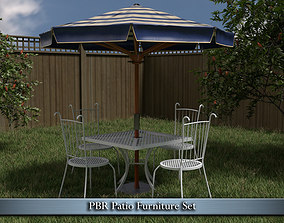 3D model low-poly PBR Patio Furniture Set